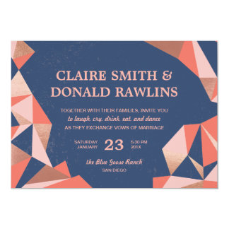 Faceted Geode Modern Geometric Wedding Card