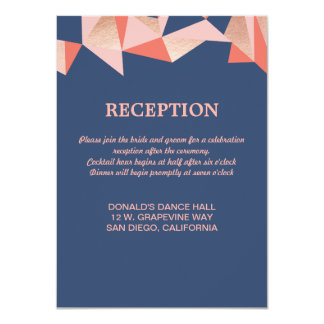 Faceted Geode Modern Geometric Wedding Reception Card