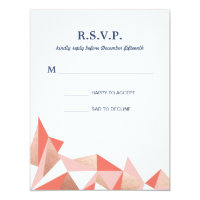 Faceted Geode Modern Geometric Wedding RSVP Reply Card