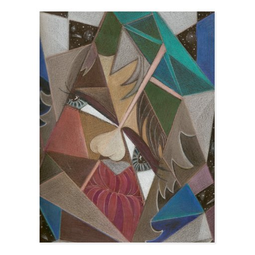 'Faceted in Space' postcard