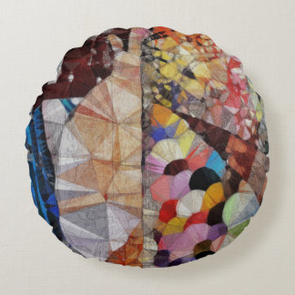 Facets of time round pillow