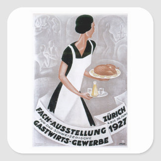 Fach Ausstellung Vintage Food Ad Art Square Stickers