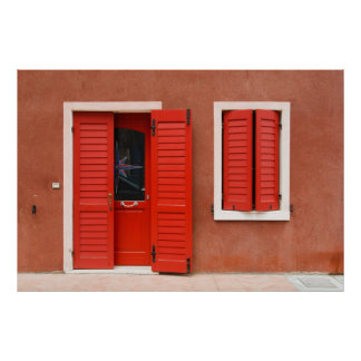 Fachada colorida Caorle, Italia de la casa Poster