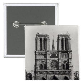 Fachada de Notre-Dame, París, fin del siglo XIX Pin Cuadrada 5 Cm