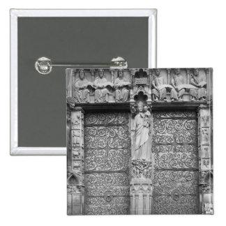 Fachada de Notre-Dame, salida el portal, París Pin Cuadrada 5 Cm