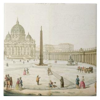 Fachada de San Pedro en Roma con la plaza en f Azulejo Cuadrado Grande