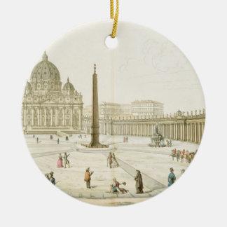 Fachada de San Pedro en Roma con la plaza en f Ornato