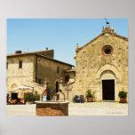 Fachada de una iglesia, iglesia del Romanesque, pl Poster