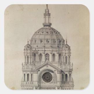 Fachada del oeste de la iglesia de St Agustín Calcomania Cuadradas Personalizadas