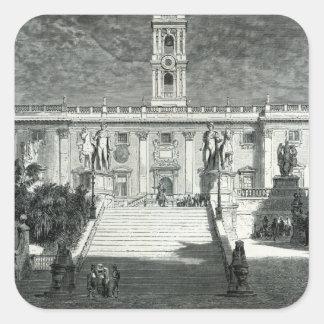 Fachada del palacio senatorial, Roma Pegatina Cuadrada
