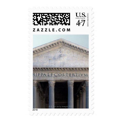 Fachada del panteón en Roma, Italia Timbre Postal