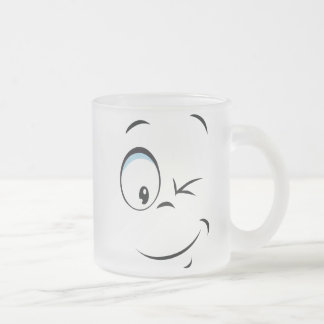 Facial Expression Frosted Glass Coffee Mug