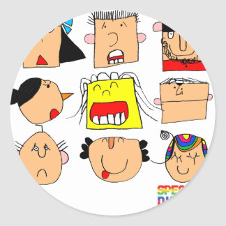 Facial Expressions Classic Round Sticker