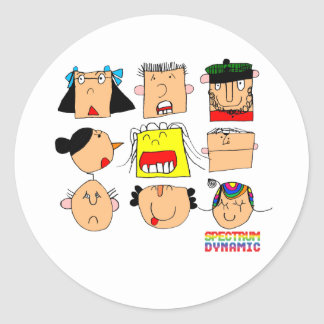 Facial Expressions Round Stickers