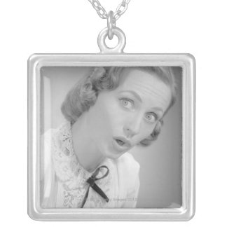 Facial Expressions Square Pendant Necklace
