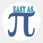 Fácil como pi etiqueta redonda