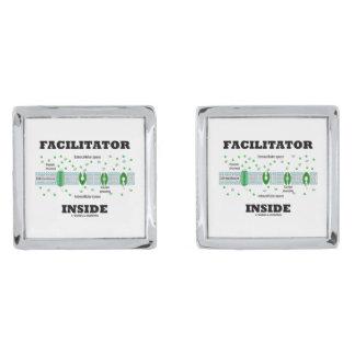 Facilitator Inside (Facilitated Diffusion) Silver Cufflinks