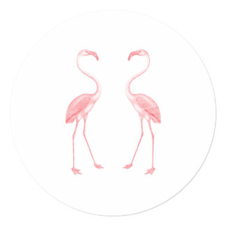 "Facing Flamingos 5.25"" Square Invitation Card"