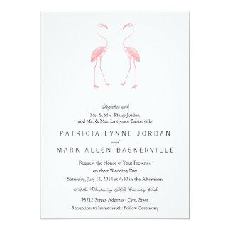 "Facing Flamingos 5"" X 7"" Invitation Card"