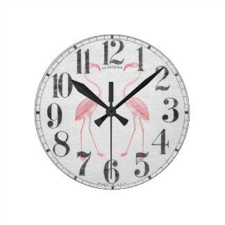Facing Flamingos Round Wall Clocks
