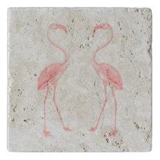 Facing Flamingos Trivet