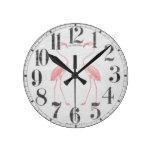 Facing Flamingos Wall Clocks