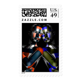Facing Ones Alter Ego- Abstract- Postage Stamps