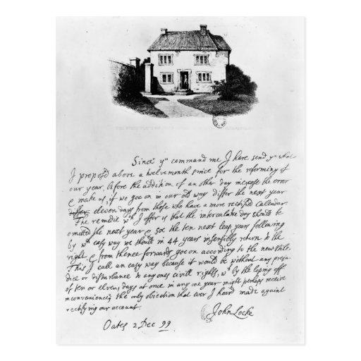 Facsímil de la letra que ilustra la casa adentro postales