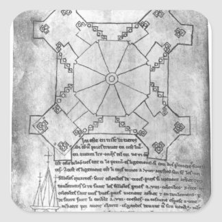 Facsimile copy of a plan of the tower square sticker