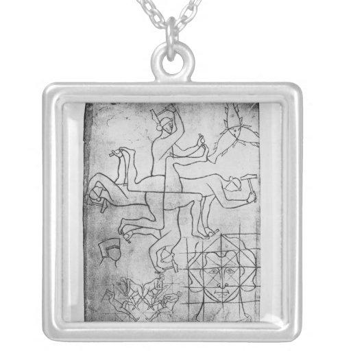 Facsimile copy of Ms Fr Studies of men Square Pendant Necklace
