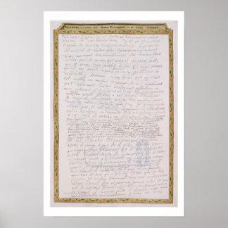 Facsimile of a letter from Elizabeth I to Francois Poster