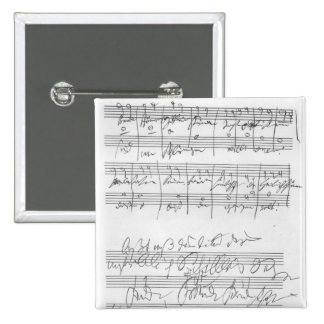 Facsimile of a page of music 2 inch square button