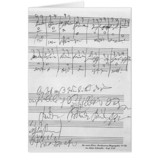 Facsimile of a page of music card