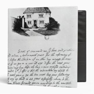 Facsimile of letter illustrating  house in binder
