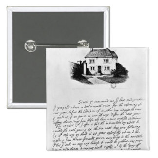 Facsimile of letter illustrating  house in button