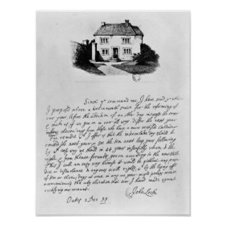 Facsimile of letter illustrating  house in poster