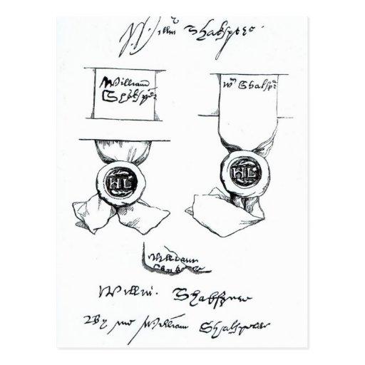 Facsímiles de la firma de William Shakespeare Tarjetas Postales