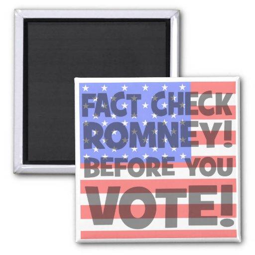fact check Mitt Romney 2 Inch Square Magnet