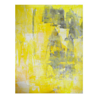 'Factor' Grey and Yellow Abstract Art Poster Print