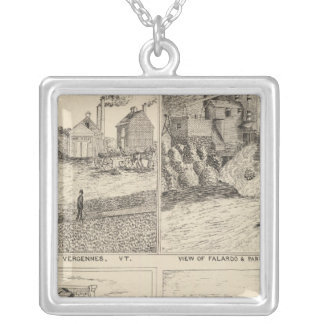 Factory and tannery in Vergennes Square Pendant Necklace