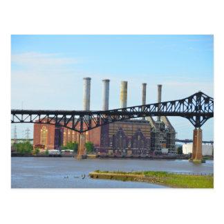 Factory Behind the Bridge Postcard