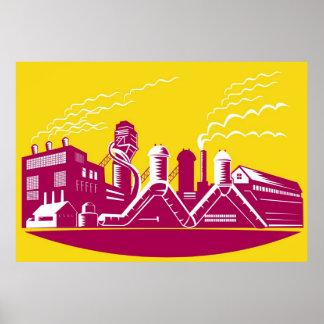 Factory Building Power Plant Retro Poster