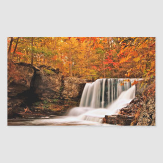 Factory Falls in Autumn Rectangle Sticker
