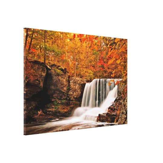 Factory Falls in Autumn Wrapped Canvas