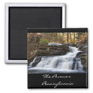 Factory Falls in the Poconos 2 Inch Square Magnet