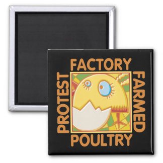 Factory Farm Animal Rights 2 Inch Square Magnet