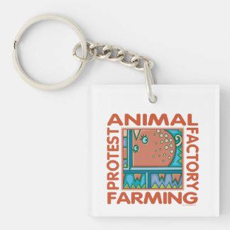 Factory Farming, Animal Rights Keychain