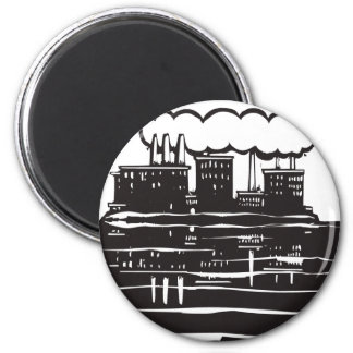 Factory Lake 2 Inch Round Magnet