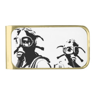 Factory Worker Gas Masks Gold Finish Money Clip