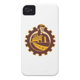 Factory Worker Mechanic With Cog Building iPhone 4 Covers